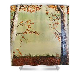 Autum On The Ema River  2 Shower Curtain