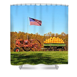 Shower Curtain featuring the photograph Autumn And Old Glory by Kelly Nowak