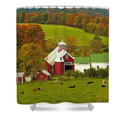 Autumn At Bogie Mountain Dairy Farm Shower Curtain by John Vose