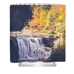 Autumn At Letchworth Shower Curtain by Sara Frank