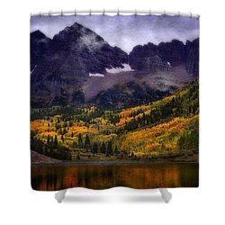 Shower Curtain featuring the photograph Autumn At Maroon Bells by Ellen Heaverlo