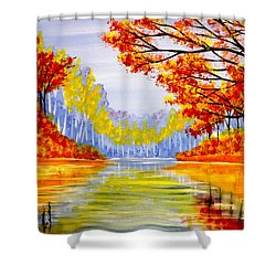 Shower Curtain featuring the painting Autumn At The Lake by Darren Robinson