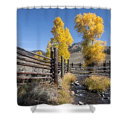 Shower Curtain featuring the photograph Autumn At The Lamar Buffalo Ranch by Jack Bell