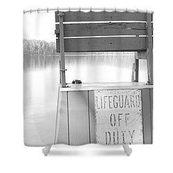 Autumn At White Lake Bw Shower Curtain by Barbara Bardzik