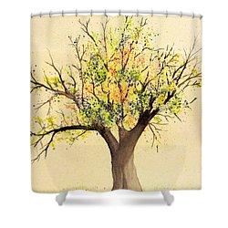 Autumn Backyard Tree Shower Curtain