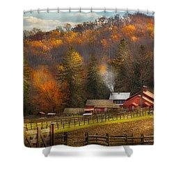 Autumn - Barn - The End Of A Season Shower Curtain