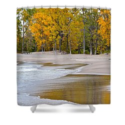 Autumn Beach Shower Curtain by Frozen in Time Fine Art Photography