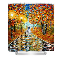 Shower Curtain featuring the painting Autumn Beauty Original Palette Knife Painting by Georgeta  Blanaru
