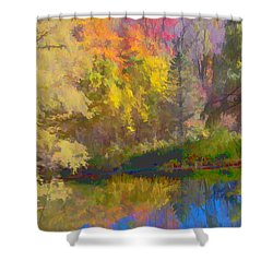Autumn Beside The Pond Shower Curtain by Don Schwartz