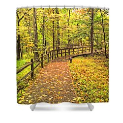 Autumn Boardwalk At Mammoth Cave National Park 2 Shower Curtain