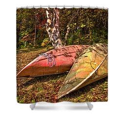 Autumn Canoes Shower Curtain by Debra and Dave Vanderlaan