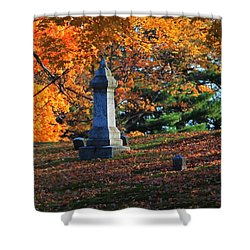 Autumn Cemetery Visit Shower Curtain