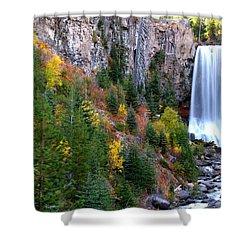 Autumn Colors Surround Tumalo Falls Shower Curtain