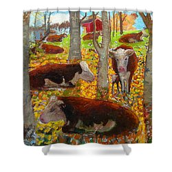 Autumn Cows Shower Curtain