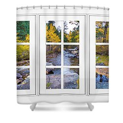 Autumn Creek White Picture Window Frame View Shower Curtain by James BO  Insogna