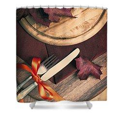 Autumn Dining Shower Curtain by Amanda Elwell