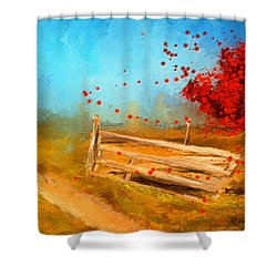 Autumn Farm- Autumn Impressionism Oil Palette Knife Painting Shower Curtain