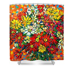 Autumn Flowers Colorful Daisies  Shower Curtain by Ana Maria Edulescu
