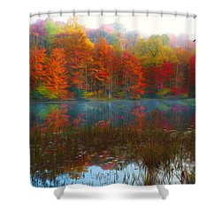 Autumn Foliage Shower Curtain by Lanjee Chee