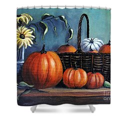 Shower Curtain featuring the painting Autumn Gifts by Vesna Martinjak