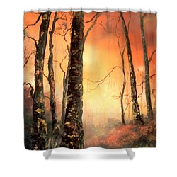 Shower Curtain featuring the painting Autumn Glow by Jean Walker