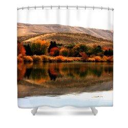 Autumn Glow On The Yakima River Shower Curtain by Carol Groenen