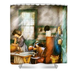 Autumn - Halloween - Carving A Pumpkin Shower Curtain by Mike Savad
