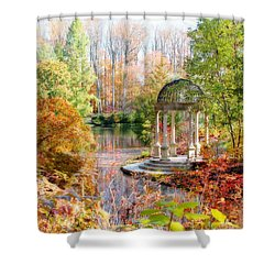 Shower Curtain featuring the photograph Autumn In Longwood Gardens by Trina  Ansel