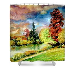 Shower Curtain featuring the painting Autumn In Park by Sorin Apostolescu