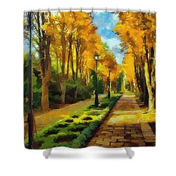 Autumn In Public Gardens Shower Curtain by Jeff Kolker