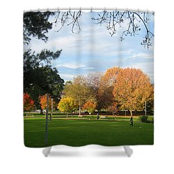Shower Curtain featuring the photograph Autumn In The Park by Leanne Seymour