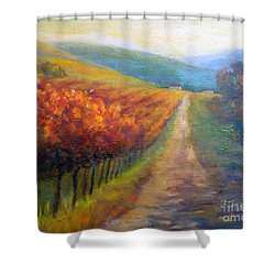 Autumn In The Vineyard Shower Curtain by Carolyn Jarvis