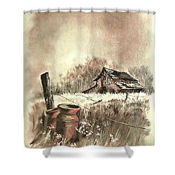 Shower Curtain featuring the painting Autumn In View At Mac Gregors Barn by Carol Wisniewski