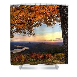 Autumn Lake Shower Curtain by Debra and Dave Vanderlaan