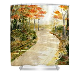 Autumn Lane Shower Curtain by Melly Terpening