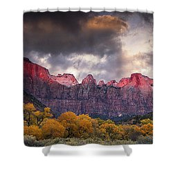 Shower Curtain featuring the photograph Autumn Morning In Zion by Andrew Soundarajan