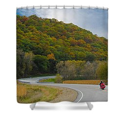 Autumn Motorcycle Rider / Orange Shower Curtain