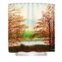 Autumn On The Ema River Estonia Shower Curtain