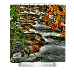 Autumn On The River Shower Curtain by Randy Hall