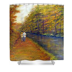 Autumn On The Towpath Shower Curtain