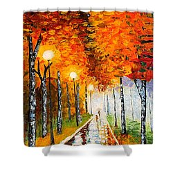 Shower Curtain featuring the painting Autumn Park Night Lights Palette Knife by Georgeta  Blanaru