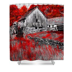 Autumn Promise- Red And Gray Art Shower Curtain