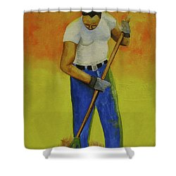 Autumn Raking Shower Curtain