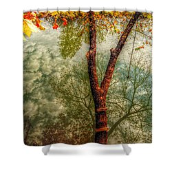Shower Curtain featuring the photograph Autumn Reflection  by Peggy Franz