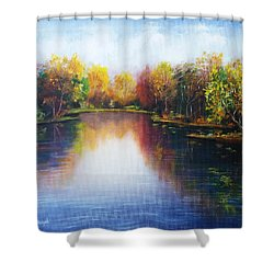Shower Curtain featuring the painting Autumn Reflections  by Vesna Martinjak