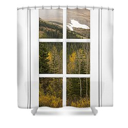 Autumn Rocky Mountain Glacier View Through A White Window Frame  Shower Curtain by James BO  Insogna