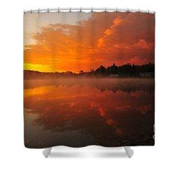 Autumn Sunrise At Stoneledge Lake Shower Curtain by Terri Gostola