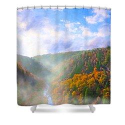 Autumn Sunrise In Tallulah Gorge Shower Curtain by Mark E Tisdale