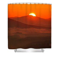 Autumn Sunrise On The Lilienstein Shower Curtain