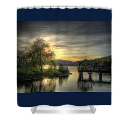 Autumn Sunset Shower Curtain by Nicola Nobile